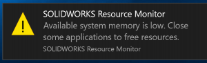 SOLIDWORKS Resource Monitor