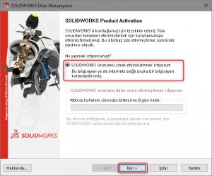 SOLIDWORKS lisans aktivasyonu ekranı