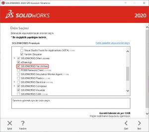 Kurulum Yöneticisi SOLIDWORKS File Utilities