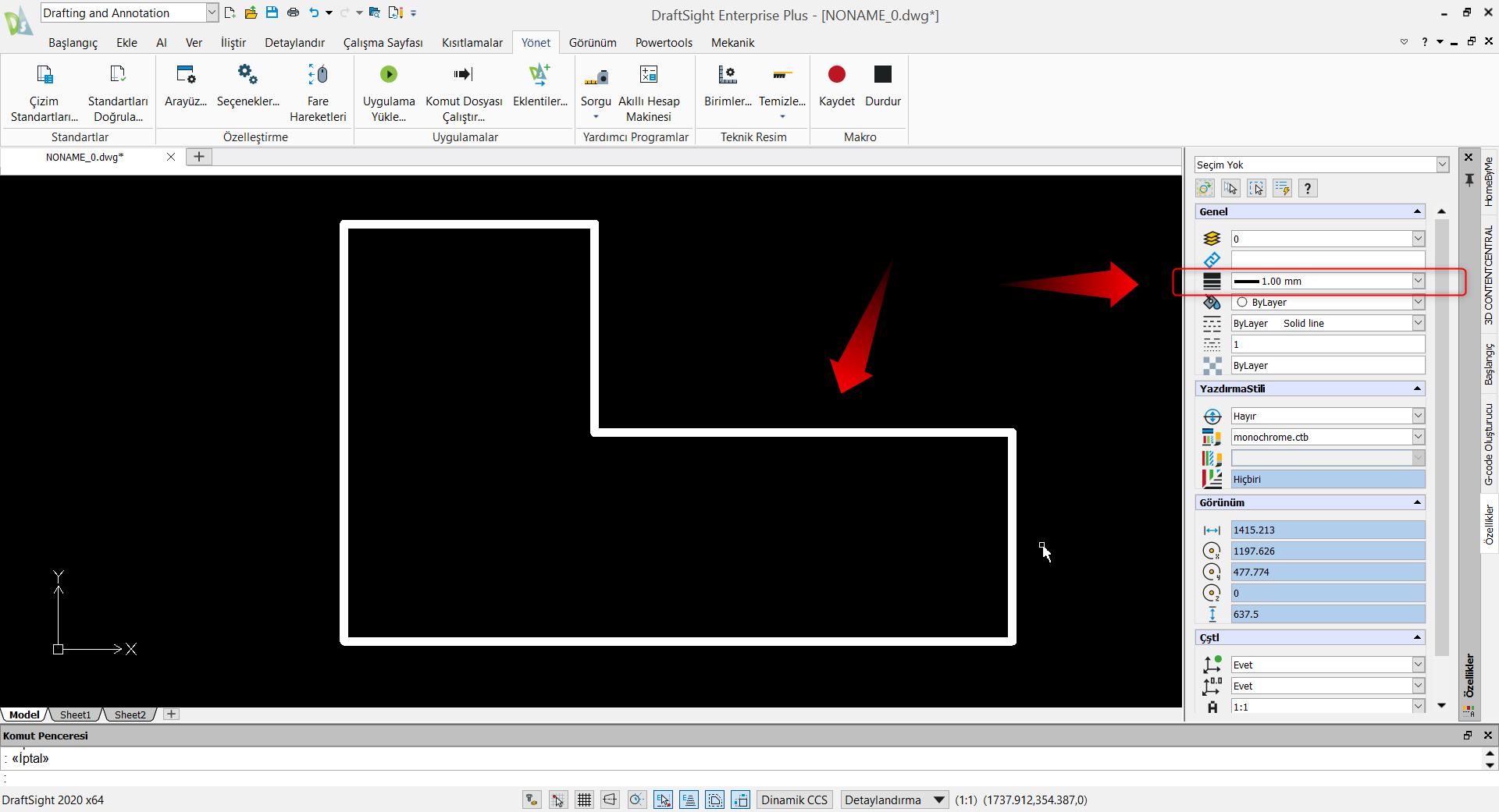 Grafik alanda çizgi kalınlığı gösterilmiş görünüm