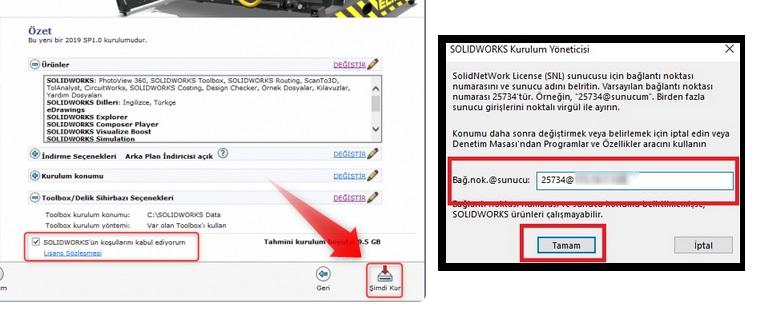 SOLIDWORKS CAD (Client) Kullanıcı kurulumunun son aşaması